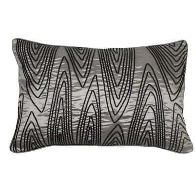 Faux Bois Cord Lumbar Pillow Color: Gray/Black