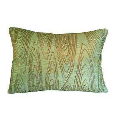 Faux Bois Cord Lumbar Pillow Color: Celery/Taupe
