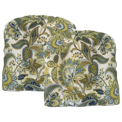 Valbella Tufted Outdoor Dining Chair Cushion Fabric: Provence