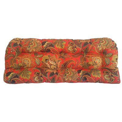 Valbella Tufted Outdoor Bench Cushion Fabric: Blaze