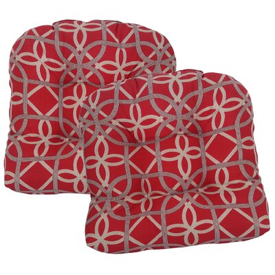 Ravensdale Tufted Outdoor Dining Chair Cushion Fabric: Cherry