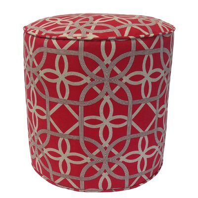 Ravensdale Outdoor Pouf Ottoman Fabric: Cherry