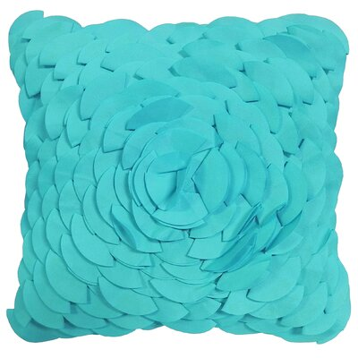 Dimensional Peony Indoor/Outdoor Throw Pillow Color: Aqua