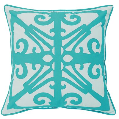 Indoor/Outdoor Throw Pillow Color: White/Aqua