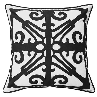 Indoor/Outdoor Throw Pillow Color: White/Black