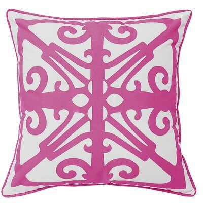 Laser Fork Indoor/Outdoor Throw Pillow Color: White/Fuchsia