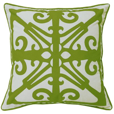 Indoor/Outdoor Throw Pillow Color: White/Leaf