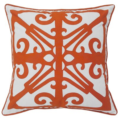 Indoor/Outdoor Throw Pillow Color: White/Orange