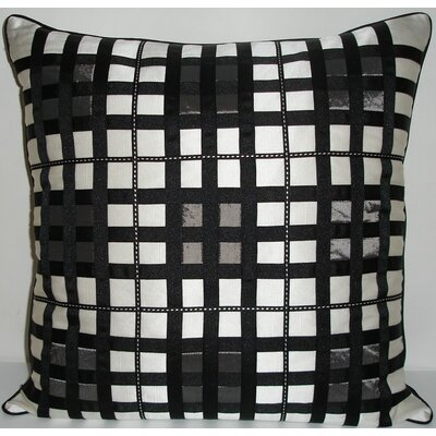 Belgravia Plaid Throw Pillow Color: White / Black