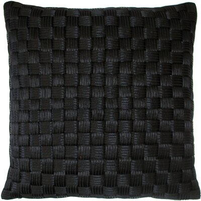 Basket Weave Cord Throw Pillow Color: Black