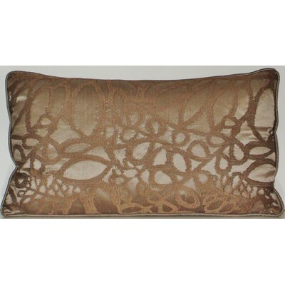 Silk Embroidered Leaf Lumbar Pillow