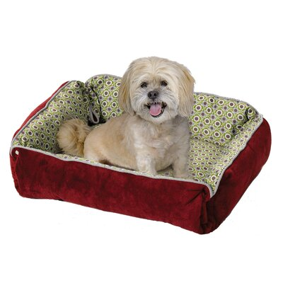 Quiet Time Fur and Designer Print Boutique Reversible Snap Bolster Dog Bed