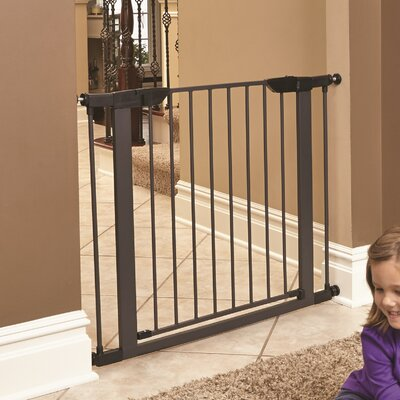 Freddy Steel Pressure Mounted Pet Gate Size: 29 H x 29.5 W x 1 D, Finish: Graphite