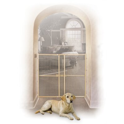 Wood Wire Mesh Pet Gate Size: 44