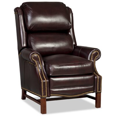Alta High Leg Leather Recliner Finish: Brown, Upholstery: Light Brown