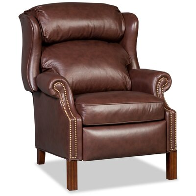 Chippendale Leather Manual Recliner Upholstery: Brown