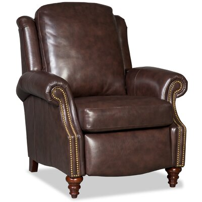 Hobson 3-Way Leather Manual Recliner Upholstery: Light Brown