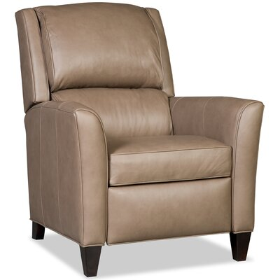 Roswell 3-Way Leather Manual Recliner Upholstery: Taupe, Finish: Black