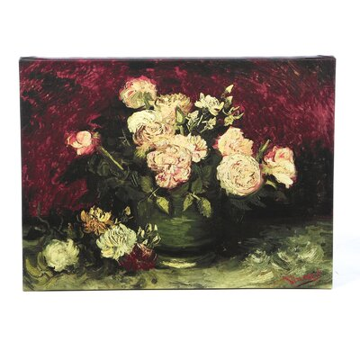 'Roses and Peonies' by Vincent Van Gogh Painting Print on Wrapped Canvas Size: 18