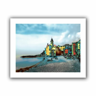 'Camogli Italy Beachside Signed' by Linda Parker Graphic Art on Canvas Size: 36