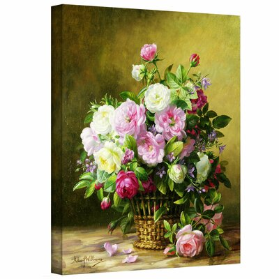 'Roses' Painting Print on Rolled Canvas Size: 22