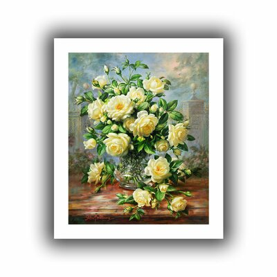 'Princess Diana Roses in a Cut Glass Vase' Painting Print on Rolled Canvas Size: 22