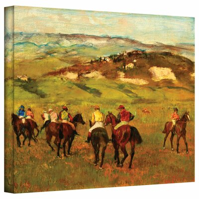 'Jockeys on Horseback before Distant Hills' by Edgar Degas Painting Print on Wrapped Canvas Size: 26