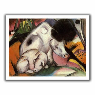 'Pigs' by Franz Marc  Painting Print on Canvas Size: 40