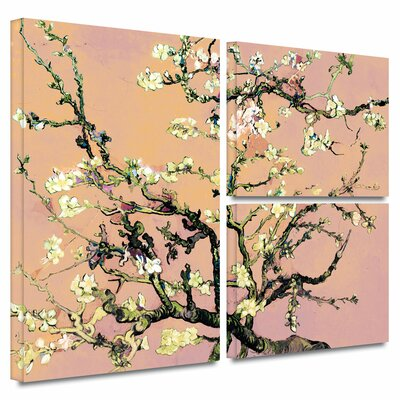 'Eggshell Almond Blossom' by Vincent Van Gogh 3 Piece Graphic Art on Wrapped Canvas Set Size: 36