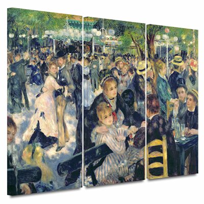 Art Wall 'Ball at the Moulin de la Galette' by Pierre Renoir 3 Piece Print of Painting Gallery-Wrapped on Canvas ...