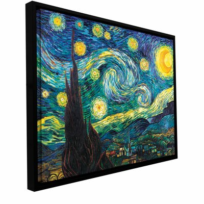 'Starry Night' by Vincent Van Gogh Framed Painting Print on Wrapped Canvas Size: 14