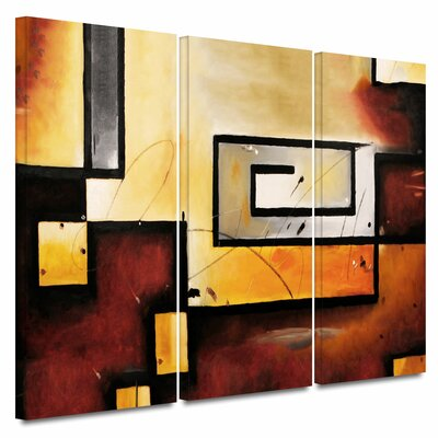 'Abstract Modern' 3 Piece Graphic Art on Wrapped Canvas Set Size: 18