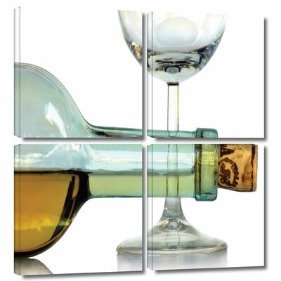 'Bottle Plus Glass' by Dan Holm 4 Piece Photographic Print on Wrapped Canvas Set 0hol007e3636w