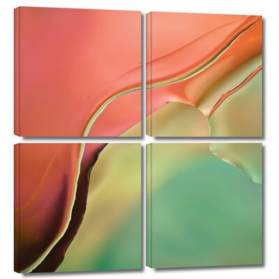'Flow Abstract I' by Cora Niele 4 Piece Graphic Art on Wrapped Canvas Set Size: 48