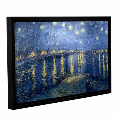 "Starry Night Over The Rhone (Lighter Version) by Vincent Van Gogh Framed Painting Print on Wrapped Canvas Size: 16"" H x 24"" W 0van113a1624f"
