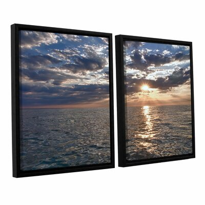 Lake Erie Sunset I by Dan Wilson 2 Piece Framed Photographic Print on Canvas Set 0wil009b2436f