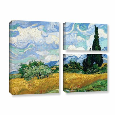 Wheatfield with Cypresses by Vincent Van Gogh 3 Piece Painting Print on Wrapped Canvas Set 0van011g3648w
