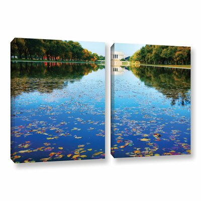 Lincoln Memorial And Reflecting Pool I by Steve Ainsworth 2 Piece Photographic Print on Gallery Wrapped Canvas Set Size: 24