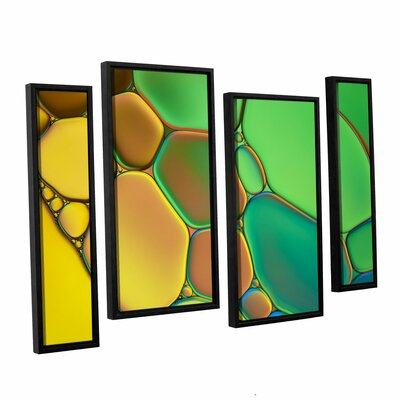 'Stained Glass III' by Cora Niele 4 Piece Framed Graphic Art on Canvas Set 0nie074i2436f