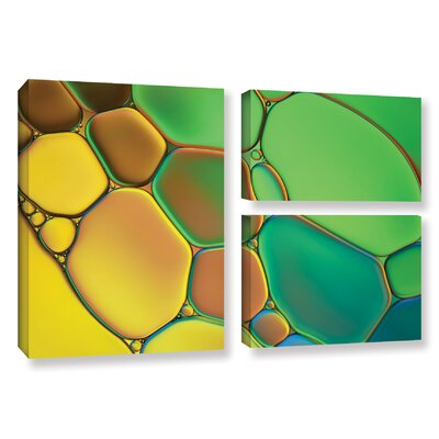 'Stained Glass III' by Cora Niele 3 Piece Graphic Art on Wrapped Canvas Set 0nie074g2436w