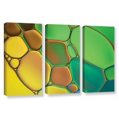 'Stained Glass III' by Cora Niele 3 Piece Graphic Art on Wrapped Canvas Set 0nie074c3654w