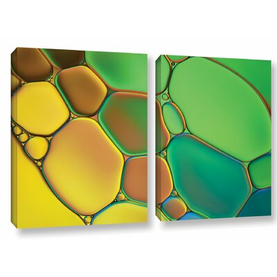 'Stained Glass III' by Cora Niele 2 Piece Graphic Art on Wrapped Canvas Set 0nie074b1828w