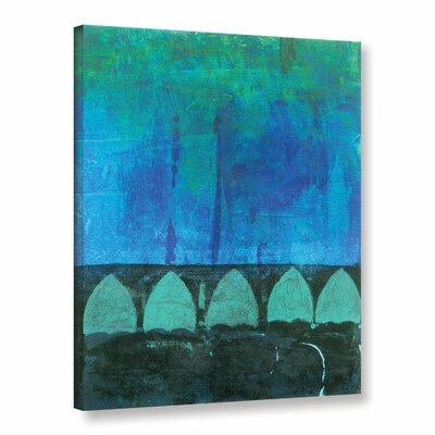 Blue-Green Abstract by Elena Ray Painting Print on Wrapped Canvas 0ray111a1824w