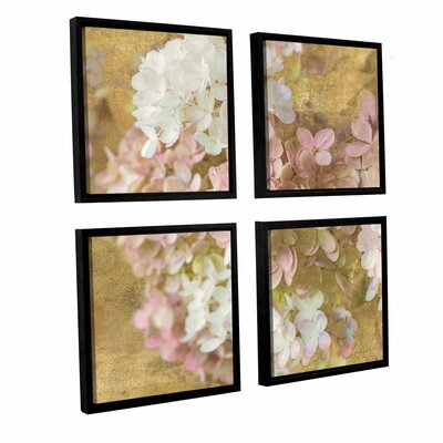 Gilded Hydrangea II 4 Piece Framed Graphic Art on Canvas Set