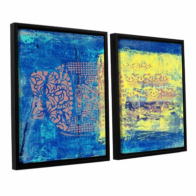 Blue with Stencils by Elena Ray 2 Piece Framed Painting Print on Wrapped Canvas Set 0ray061b2436f
