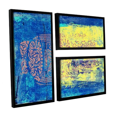 Blue with Stencils by Elena Ray 3 Piece Framed Painting Print on Wrapped Canvas Set 0ray061g2436f