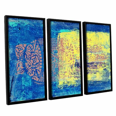 Blue with Stencils by Elena Ray 3 Piece Framed Painting Print on Wrapped Canvas Set 0ray061c3654f