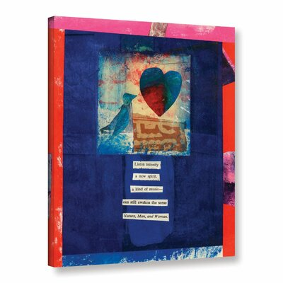 "Bird, Heart, Love by Elena Ray Graphic Art on Wrapped Canvas Size: 24"" H x 18"" W 0ray105a1824w"
