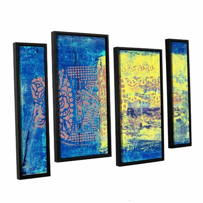 Blue With Stencils by Elena Ray 4 Piece Framed Painting Print on Canvas Set 0ray061i3654f