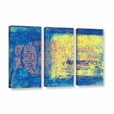 'Blue with Stencils' by Elena Ray 3 Piece Painting Print on Wrapped Canvas Set 0ray061c3654w